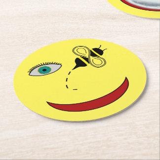 Abeja del ojo feliz posavasos de cartón redondo