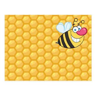 Abeja del peine de la miel postal