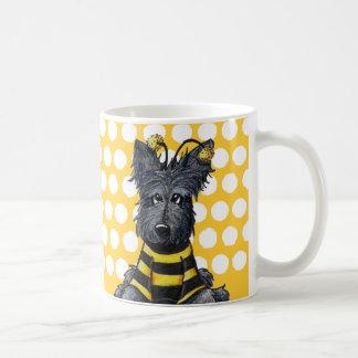 Abeja del perro del escocés taza