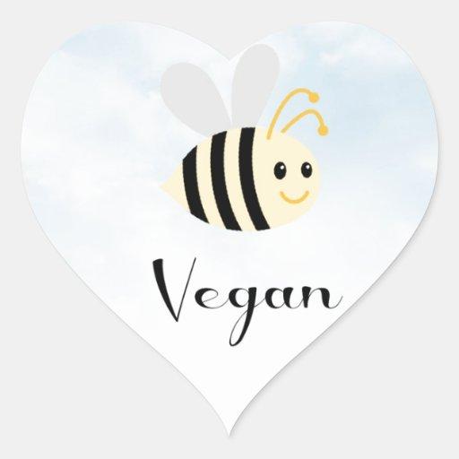 Abeja del vegano pegatina en forma de corazón