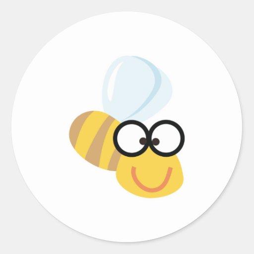 abeja divertida pegatina redonda