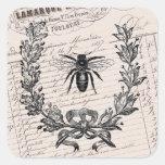 Abeja elegante francesa de la miel del vintage pegatina cuadradas personalizada