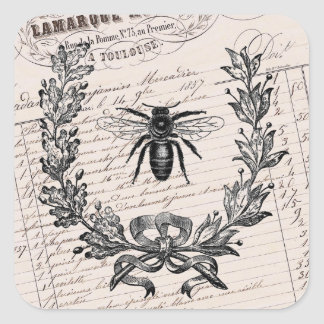Abeja elegante francesa de la miel del vintage pegatina cuadrada