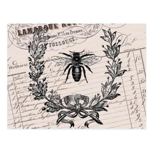 Abeja elegante francesa de la miel del vintage postales