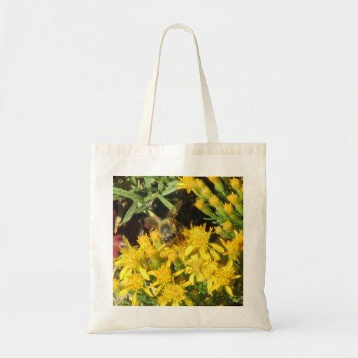 Abeja en bolso amarillo de las flores bolsa