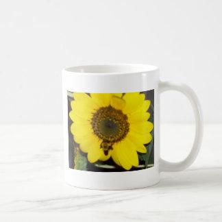 Abeja en el girasol taza de café