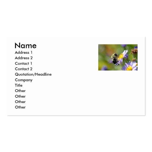 Abeja en la foto de la flor del aster plantilla de tarjeta de negocio