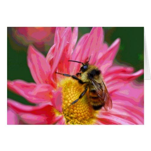 Abeja en tarjeta rosada del arte de la naturaleza