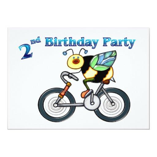 """Abeja en un 2do cumpleaños de la bici invitación 5"""" x 7"""""""