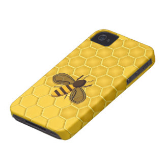 Abeja en un caso del iPhone 4 del panal del oro iPhone 4 Protectores