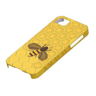 Abeja en un caso del iPhone 5 del panal del oro iPhone 5 Funda