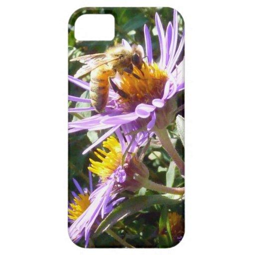 Abeja en una flor púrpura iPhone 5 Case-Mate protector