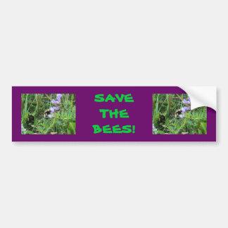 Abeja F0002 en Wildflowers púrpuras Pegatina Para Auto