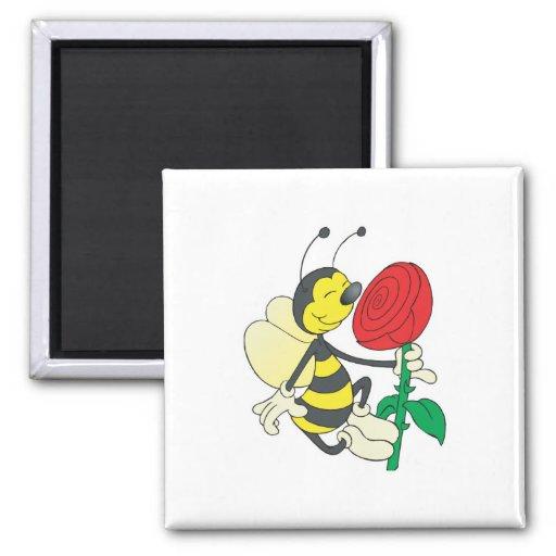abeja feliz linda que huele subió imanes de nevera