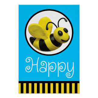 Abeja feliz póster