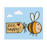 Abeja feliz tarjeta postal