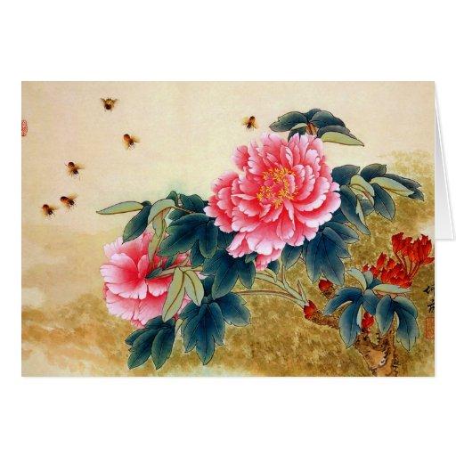 Abeja fresca de la flor del rosa de la acuarela de tarjeta pequeña