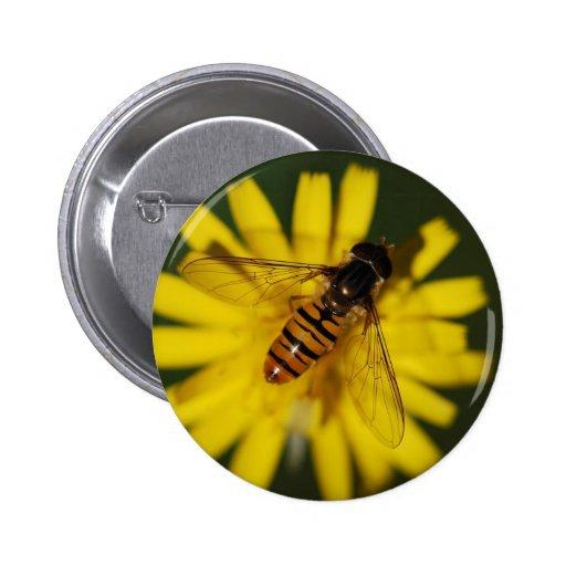 Abeja fresca de la miel en la flor en fotografía d pin redondo 5 cm