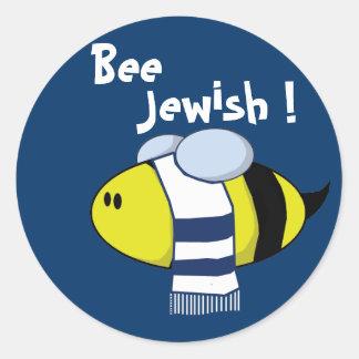 Abeja judía etiqueta redonda