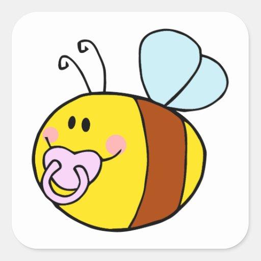 abeja linda de la miel del bebé con el dibujo calcomanía cuadrada