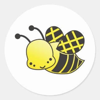 abeja linda de la miel pegatina redonda