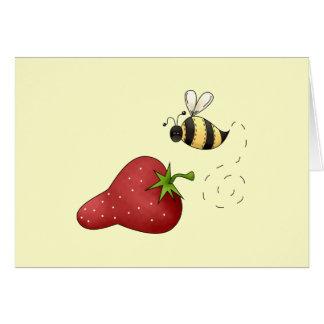 Abeja linda del dibujo animado y diseño con sabor  tarjeta de felicitación