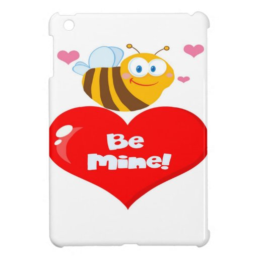 Abeja linda un corazón rojo iPad mini protector