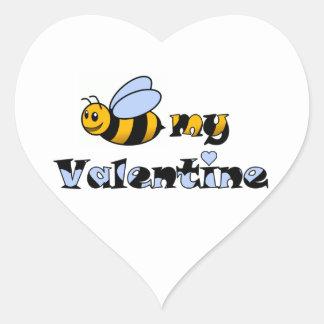 Abeja mi tarjeta del día de San Valentín Calcomanía De Corazón Personalizadas