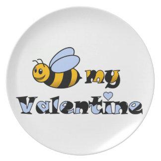 Abeja mi tarjeta del día de San Valentín Platos