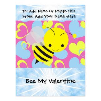 Abeja mi tarjeta del día de San Valentín Tarjeta Postal