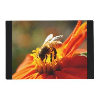Abeja nativa en una flor anaranjada Placemat Tapete Individual