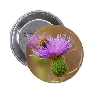 Abeja ocupada en la fotografía púrpura del cardo pin redondo de 2 pulgadas