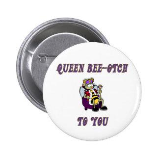 Abeja-otch de la reina pin redondo de 2 pulgadas