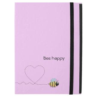 Abeja positiva feliz en rosa del dibujo animado