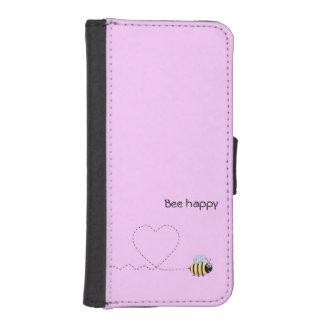 Abeja positiva feliz en rosa del dibujo animado billetera para teléfono