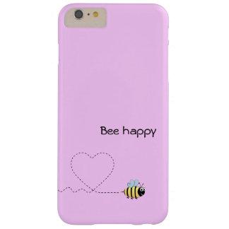Abeja positiva feliz en rosa del dibujo animado funda barely there iPhone 6 plus