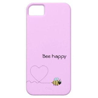 Abeja positiva feliz en rosa del dibujo animado funda para iPhone SE/5/5s