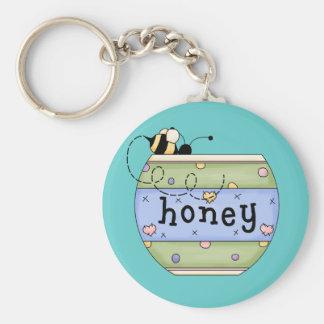 Abeja que roba del pote de la miel llavero redondo tipo pin