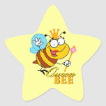 abeja reina divertida del dibujo animado con el colcomanias forma de estrella personalizadas