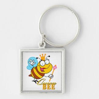 abeja reina divertida del dibujo animado con el te llavero cuadrado plateado