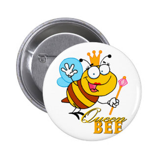 abeja reina divertida del dibujo animado con el te pin