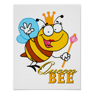 abeja reina divertida del dibujo animado con el te póster