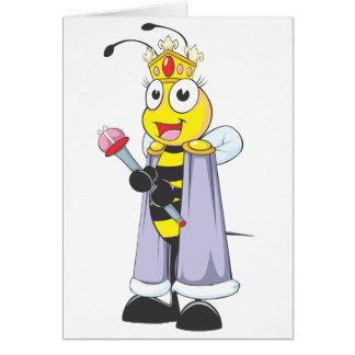 Abeja reina feliz con ropa de la reina tarjeta de felicitación
