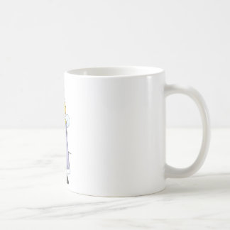 Abeja reina feliz taza básica blanca