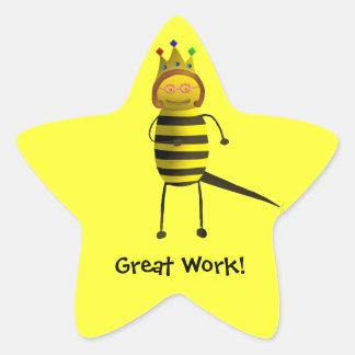 ¡Abeja reina, gran trabajo! Calcomanías Forma De Estrella Personalizadas