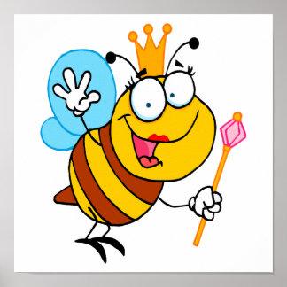 abeja reina linda tonta del dibujo animado póster