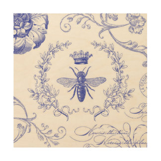 abeja reina moderna del francés del vintage impresión en madera