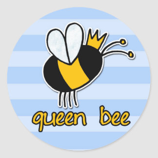 abeja reina pegatina redonda
