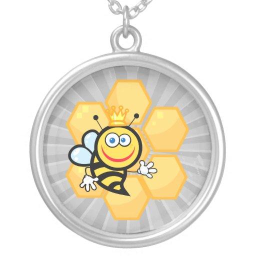 abeja reina y colmena lindas colgante redondo