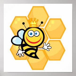 abeja reina y colmena lindas póster